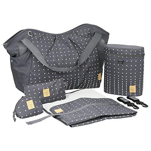 Lässig Casual Twin Bag Zwillings-/Wickeltasche mit verstellbarem Schultergurt inkl. Wickelzubehör, Dotted lines ebony