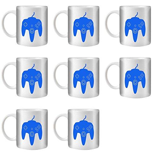STUFF4 Tasse de Café/Thé 350ml/8 Pack Bleu/N64/Céramique Blanche/ST10