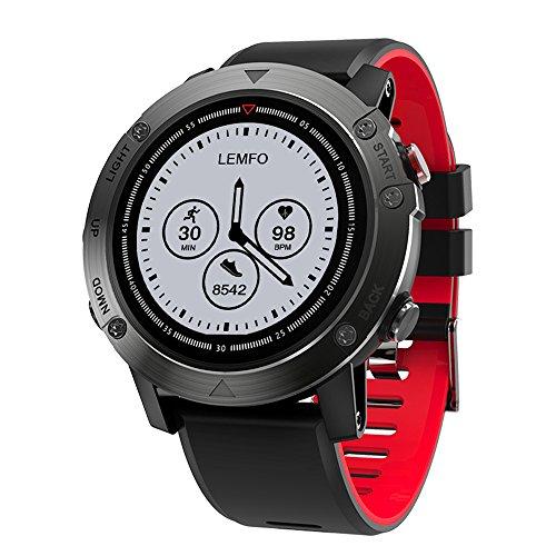 LEMFO BT4.2 Smart Watch Outdoor Sports Fitness Tracker GPS Herzfrequenz Schrittzähler Alarm Copmass Fernbedienung Kompatibel mit IOS & Android