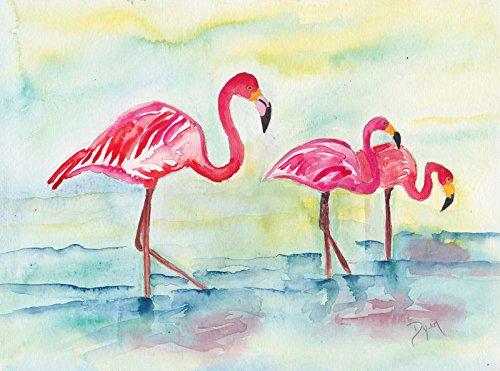 Digitaldruck / Poster Beverly Dyer - Sunset Flamingoes I - 75 x 50cm - Premiumqualität - Flamingos,...