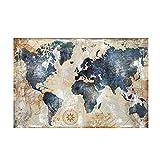 WZJYAJZW Vintage aquarell Weltkarte malerei leinwand malerei Poster und drucke Wohnzimmer Dekoration wandmalerei 80 * 120 cm