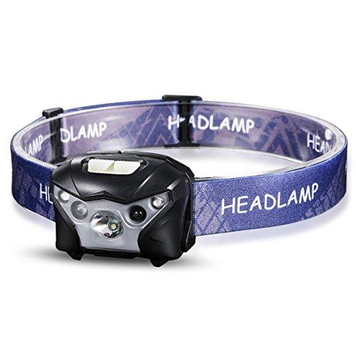 ProGreen LED Stirnlampe mit Sensor und Rotlicht, USB aufladbare Kopflampe, 4 Lichtmodi, 150LM, IPX4 wasserdicht, 1020mAh Batterie, ideal für Radfahren, Joggen, Klettern, Reparatur und Stromausfall