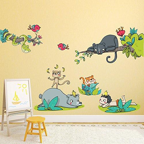 wall art R00353 Wandaufkleber für Kinder, Das Dschungelbuch, 30 x 120 x 0,1 cm, bunt