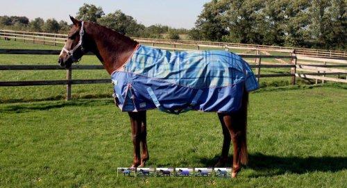 Regendecke mit Fleece Outdoordecke NEUE Farben 135-165, Groesse:135, Farbe:blau/orange kariert
