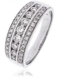 0.75CTS Certified G/VS2 Brilliant Cut Three Row Eternity Ring in 18k White Gold