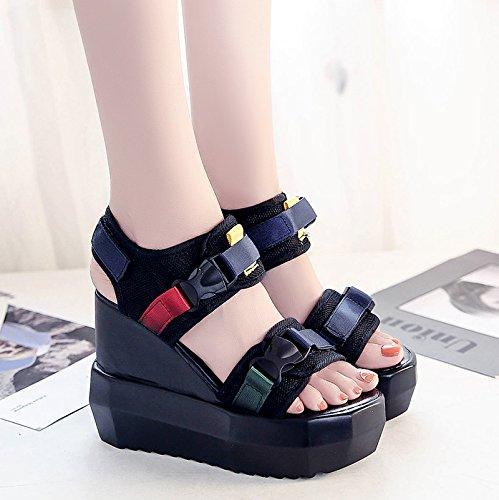 RUGAI-UE Studente Estate alta Sandali con tacco dello slittamento Waterpronon pendenza di fondo spesso scarpe da donna Black