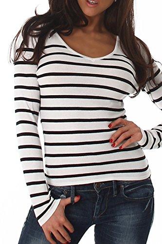 Voyelles Damen Pullover, ein gestreifter Langarm-Pulli in vielen Farbkombinationen, elegant, figurbetonend und den Größen 34-40 erhältlich Weiß (Gestreifter Grau Pullover Und Schwarz)