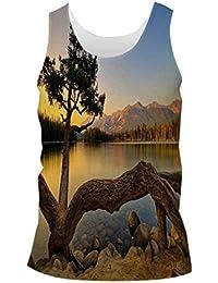 Snoogg Zig Zag Tree Mens Casual Beach Fitness Vests Tank Tops Sleeveless T shirts