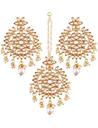I Jewels Gold Plated Kundan & Pearl Earring Set With Maang Tikka For Women (TE2458W)