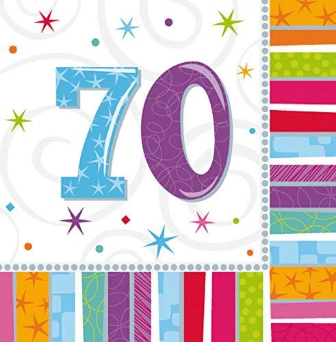 Mann Kostüm Lollipop - Amscan Geburtstags-Servietten 70 Jahre, 16 Stück