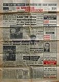NOUVELLE REPUBLIQUE (LA) [No 4908] du 04/11/1960 - de gaulle parle au pays ce soir - les 16 d'alger des barricades et du complot devant leurs juges - le rapide lyon-paris deraille - p. michelin transfere a fresnes - 12 ultras algerois et oranais expulses - 4 nord africains tues en gare de pantin - le monde a l'envers par maurois