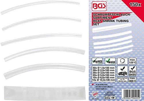 Bgs Assortiment 9405 Lot de gaines thermorétractables – Transparent – 150 Pièces