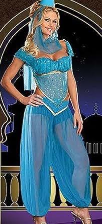 Costume Robe Fantaisie de Princesse Jasmine Génie Danseuse du Ventre Arabe