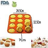 Shuban 12 Cavity Silicone Muffin/Cupcake Baking Pan Mould(Orange) - Best Reviews Guide