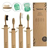 Bamboo Toothbrush by Natbam® - Free Dental Floss, Set of 4 Crafted Bamboo Toothbrushes - Soft Bristles - Natural Teeth Whitening - Eco-Friendly Biodegradable - Sustainable - BPA Free - Nylon Bristles