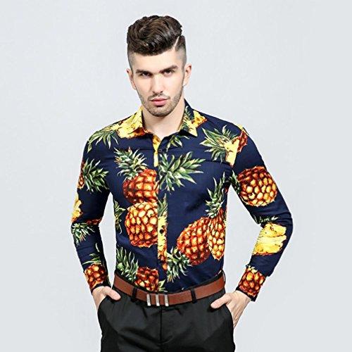 Kaiki Mens Stranddesign Langarm Shirt Business Slim Fit Shirt Casual Print  Ananas Bluse Top Navy