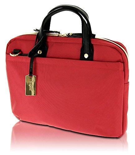 Bugatti Contratempo - Elegante Damen Business-Tasche aus hochwertigem Nylon mit glänzenden Gold-Accessoires, rot -
