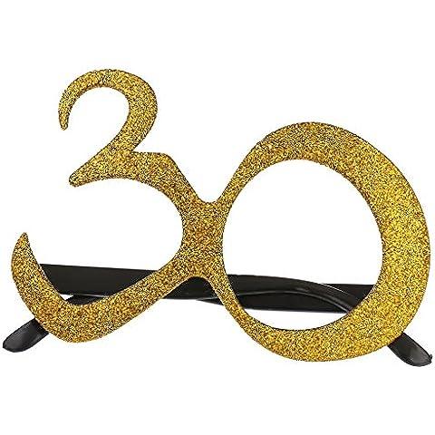 Occhiali Di Vetro 18 / 30 Anni Età Per Festa Decoraizoni Bomboniere Partito Compleanno Decorazione - oro, 30 anni - Età Vetro