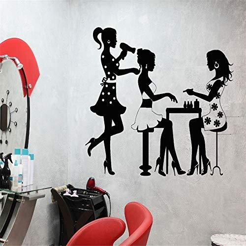 zlhcich Wandtattoo Salon Poster Schönheitssalon Friseur Maniküre Nagel Mode Aufkleber Dekor Salon Aufkleber Fensteraufkleber114 * 132 cm