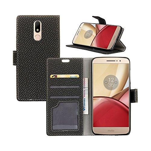 YHUISEN ZTE Axon 7 Case, Weave Pattern Magnetische Verschluss PU Leder Brieftasche Flip Folio Schutzhülle für ZTE Axon 7 ( Color : Purple ) Black