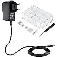 Zacro 3-EN-1 Kit - Kit para Raspberry Pi, caja, cargador y disipador de calor