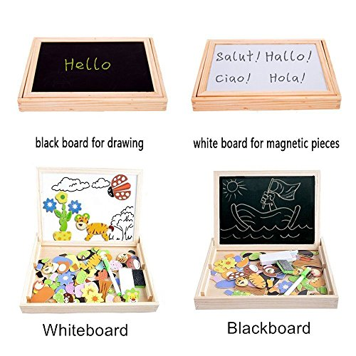 Cooljoy CL-8850 100 Pieces Wooden Magnetic Board Puzzle Games, Double Face Jigsaw& Drawing Easel Chalkboard Educational Learning Toys for Kids(Animal Pattern)