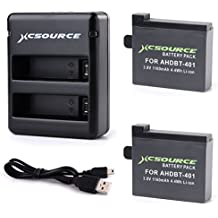 XCSOURCE® 2x Baterías AHDBT 401 + Adaptador Cargador para GoPro Hero 4 BC422