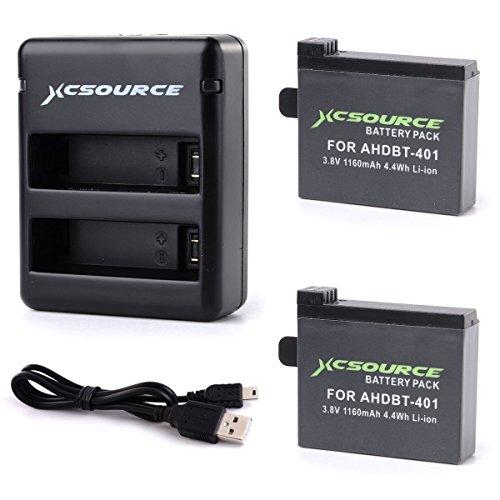 XCSOURCE® 2x Baterías AHDBT 401 + Adaptador Cargador para GoPro Hero