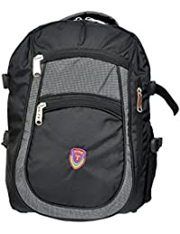KTX Black & Grey Synthetic Coated Cloth School Backpack (30 LTR) - Middle & High School