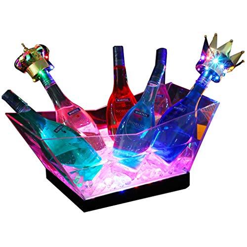 Eiskübel Farben ändern LED Kühler Eimer Große Kapazitäts-Champagner Wein Getränke Bier-Wanne for KTV Party Bar Startseite Hochzeit SYHZHY - Rot Farbe Kunststoff-wein-gläser