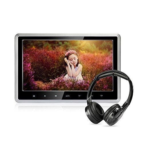 MiCarBa Auto DVD Player mit drahtlosen Kopfhörern, 10,1 Zoll HD Kopfstütze DVD Spieler Fahrzeug Rücksitz Unterhaltungssystem für Kinder mit HDMI SD USB-Fernbedienung (CLZ102D-H)