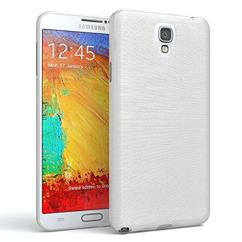 EAZY CASE Hülle für Samsung Galaxy Note 3 Neo Schutzhülle Silikon, gebürstet, Slimcover in Edelstahl Optik, Handyhülle, TPU Hülle/Soft Case, Backcover, Silikonhülle, Brushed, Weiß
