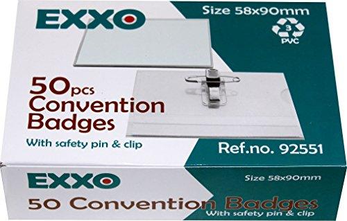 OfficeTree /® 200 professionelle Premium Kunststoff Namensschilder mit Halterclip und Nadel