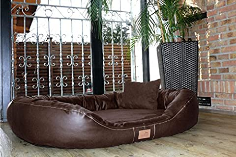 tierlando Ultimate LENNART Orthopedic Dog Bed with Visco PLUS Mattress in Faux leather and Suede! SOFT Lounge! Sz. XXL 140cm