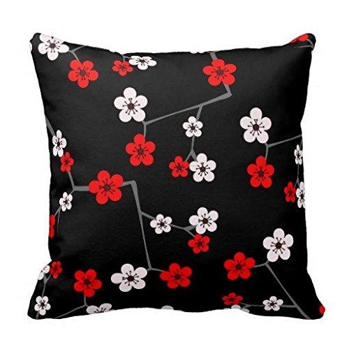 Schwarz und Rot Cherry Blossom Print Überwurf Kissen Kissen 40,6x 40,6cm (Print Boppy-kissen Animal)
