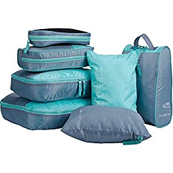 Langria 7 Sets Packing Cubes Foldable Travel Organiser Luggage Compression Pouches Suitcase Bag 2 X Packing Cubes +2 Underwear Pouches+ 1 Shoe Bag+ 1 Mesh Bag+ 1 Toiletry Bag (Turquoise & Gray)