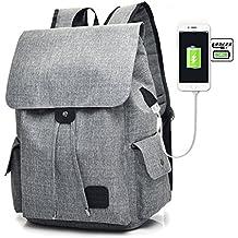 TYWZF Zaino Per Laptop, Porta Di Ricarica USB Borsa Per Computer Da Scuola Per Studenti E Ragazzi Di Alta Capacità Per Laptop Da 15,6 Pollici,Gray