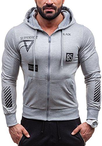 BOLF �?Sweat-shirt con cappuccio - maglione sportivo - con cerniera �?J.STYLE 2128 - Uomo Grigio