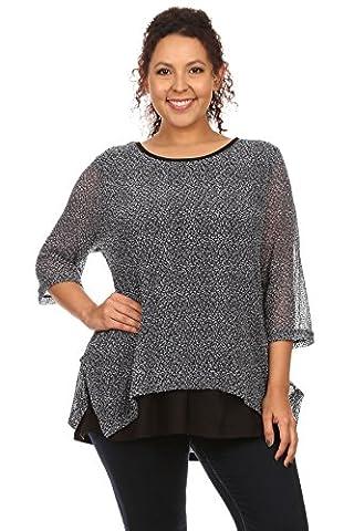 NL558 Tunika Bluse Shirt Top 2 in 1 OneSize Chiffon Stretch XXL (Dunkelblau) (Mutter Der Braut Formal Wear)