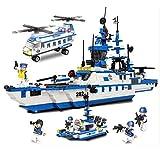 City Coast Guard Patrol Blocs de construction pour enfants Block Blocs de construction urbains Assemblage de jouets Car Porte-avions de patrouille Voitures-citernes, Voitures de police, Artillerie ant
