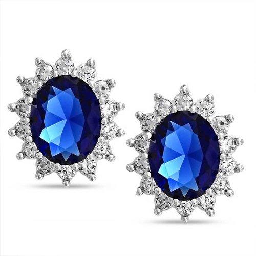 hrstecker Für Frauen Simulierten Sapphire Cz Halo Krone 925 Sterling Silber ()