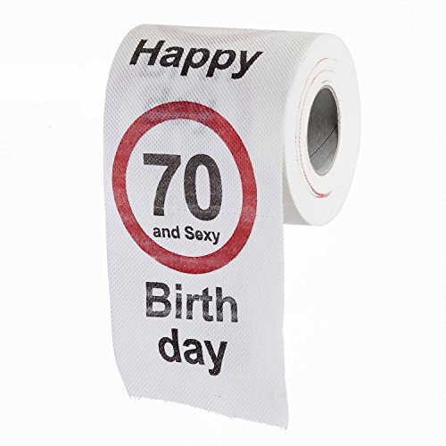 """Lustiges Fun Klopapier zum 70. Geburtstag Toilettenpapier Geschenkartikel Geburtstags-Dekoration """"70 und Sexy!"""""""