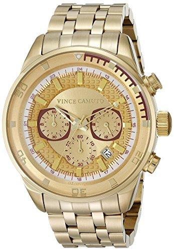 Vince Camuto VC/1044GDGP - Reloj unisex, correa de acero inoxidable color dorado