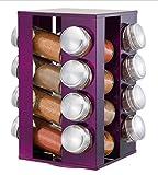 Rotierender Edelstahl Gewürzregal mit 16 Glasdosen, Lila