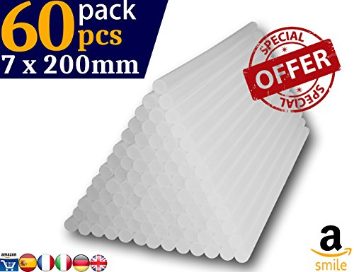 BriMix Pack 60 Barras de silicona caliente transparente EXTRA LARGAS (7mmx200mm) Pegamento termofusible para bricolaje y manualidades. +Siliconas +Ahorro. El recambio ideal para tu pistola de silicona