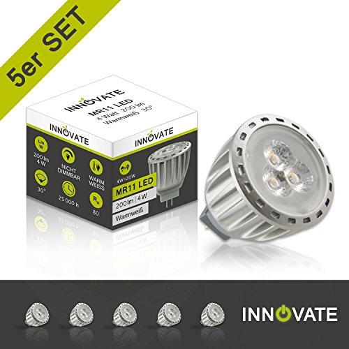 12 Volt, Mr11-g4 Sockel (INNOVATE GU4 Sockel 12V ([ 5er Pack / Set] G4 LED Leuchtmittel MR11 Spot Lampe Strahler / 4W - Ersatz 10-15W, 200 Lumen, 30° Abstrahlwinkel, warmweiss - 3000K))