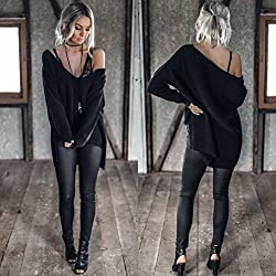 Transer® Sexy Off Shoulder Long Sleeve Sweater Loose Knit Pullover ,Women Knitted Jumper Tops Collar