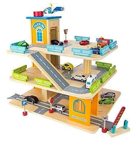 HOLZ PARKHAUS PARKPLATZ mit einem Lift O+ 9 AUTOS (Holzspielzeug Parkhaus)