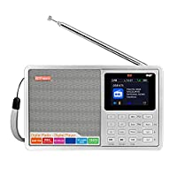 Festnight D2 Portable DAB Radio Digital FM Radio Bluetooth Speaker AUX IN TF Card Slot MP3 Player Recording Function Earphone Socket Battery Powered USB Rechargeable