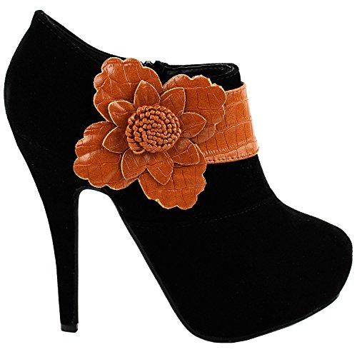 Voir l'établissement histoire Sexy fleur brun noir Zip plate-forme Stiletto cheville Boot Bootie, LF30310